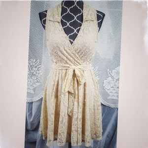 50's revival lace a-line collared dress